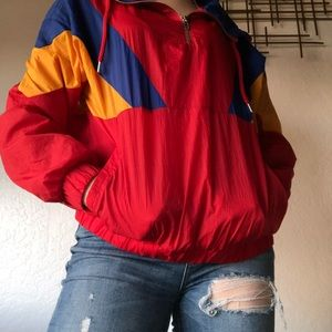Color block ❤️quarter zip windbreaker💛💙